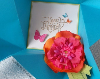 BIRTHDAY Card - folded origami - bright colors - turquoise and green with orange and pink  flower
