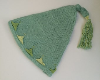 Soft Mint Pistachio Green All Cotton Pixie Hat for Babies aged 6 - 12 Months: Vegan, Made in UK