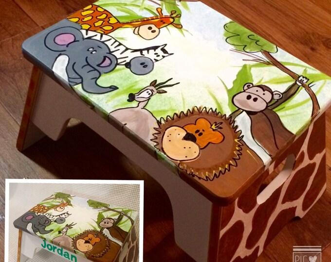 Whimsical Painted Furniture, Childs Stool // painted step stool // custom painted stool