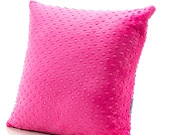 Throw Pillow, Accent Pillow, Minky Pillow, Hot Pink Pillow, Hot Pink Bedding, Girl Pillow, Girl Bedding, Twin Bedding, Twin Pillow