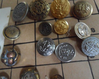 REDUCED - 30 Antique & VIntage Metal and Military Buttons