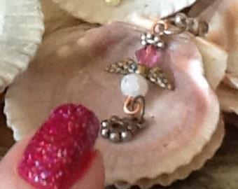 CAMILLE  Guardian Angel ornament, sun catcher, Purse Charm, Rearview Mirror Jewel, Tiny Angel Charm