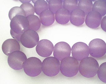 25pcs - 8mm Frosted Lilac Violet Purple matte round Glass beads