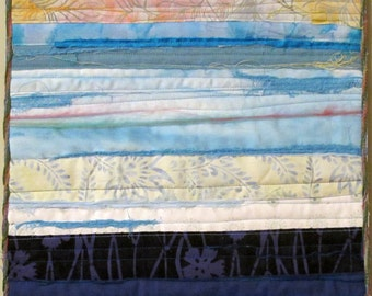 Abstract Landscape Quilted Wall Hanging Handmade One of a Kind