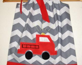 Fire truck dress  Grey chevron fire truck dress fire fighter pillowcase dress 3,6,9,12,18 month 2t,3t,4t,5t,6.7.8