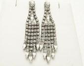 Long Rhinestone Earrings Drippy Earrings Fringe Vintage Jewelry E6952