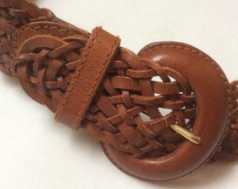 Woven brown leather belt, wide, with large leather bound rounded buckle, small / medium