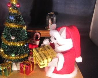 Santa Mouse with a Fireplace and Christmas Tree