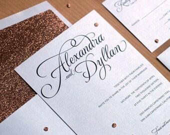 Glitter Wedding Invitation Set, Invitation Design, Rose Gold Glitter Wedding Invitation, Modern Invitation, Glitter Belly Band SAMPLE