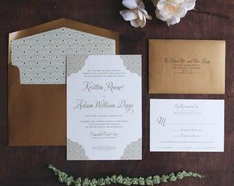 Gold Invitation Suite, Art Deco Invitation, Black Tie Wedding, Formal Wedding, Great Gatsby Wedding Invitation, Pearlescent Paper SAMPLE