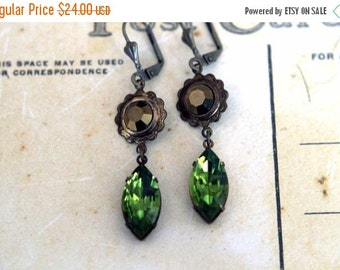 October Sale Olivine Green and Metallic Brown Earrings  Vintage Crystal Dangles  Floral, Wedding  Spring, Summer Fashion  Gift Box
