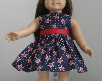 15% off sale Doll Clothes-Made For AMERICAN GIRL DOLL, Patriotic Dress Red, White & Blue Stars fits American Girl Dolls
