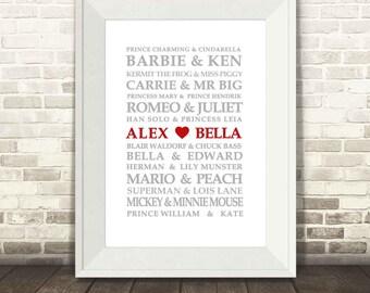 Famous Lovers Print - Modern Version, Famous Couples Print, Custom Wedding Print, Personalised Love Print, Valentines Print