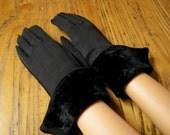 Vintage Black Dress Gloves, Long Black Dress Gloves,  Velvet Gloves, Dress Gloves, Velvet Cuffed Black Gloves, Wedding Gloves, Mad Men