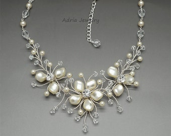 Flower Bridal Necklace Pearls Wedding Necklace Ivory Pearl Necklace Wire Wrapped Necklace Swarovski Necklace Crystal Necklace Bridal Jewelry