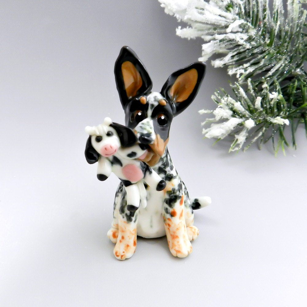 Shepherd Gold On Blue Silhouette Ornament: Australian Cattle Dog Christmas Ornament Figurine Cow