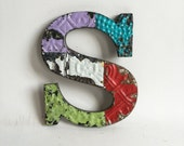 """Tin Ceiling Wrapped 8"""" Patchwork Reclaimed Metal Letter """"S"""" Mosaic Wall Hanging 190-16 Multi-Color"""
