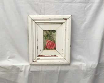 Reclaimed Wood 4x6 Picture Frame Photo ShabbyWhite Cottage Chic 364-16