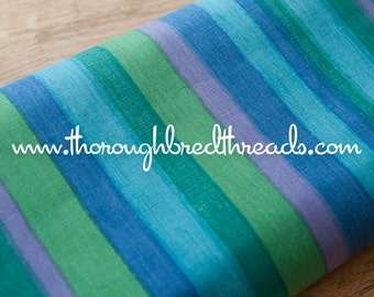 Muted Colorful Stripe - Vintage Fabric New Old Stock Vertical Green Blue Purple