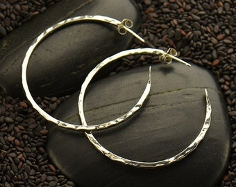 Sterling Silver Hammered Hoop Earring - Solid 925 - Insurance Included