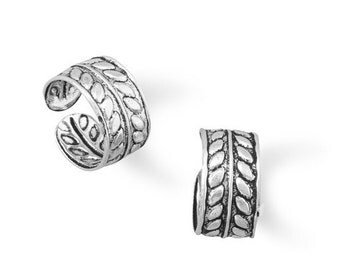 NEW - Two Row Oxidized Wheat Design Ear Cuffs - 925 Solid Sterling Silver Adjustable - Insurance Included
