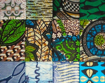 West African cotton prints - 12 blue and green fat eighths