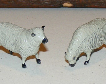 Vintage White Sheep Cast Metal Lead Toy marked Britains England Lot of 2