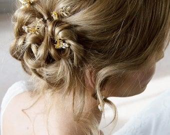 Bridal Hair Pins Diamante floral bird | Dawn Chorus