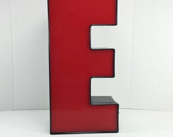 Vintage Industrial big red and black plastic and Metal Sign Letter E