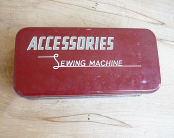 Vintage Sewing Machine Accessories tin, hinged tin, sewing machine tin, accessories metal box, storage box