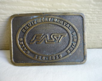 FAST Vintage brass belt buckle made by Koza's, made in Texas, USA