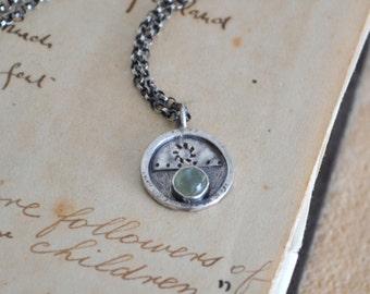 Prehnite Necklace Sterling Silver
