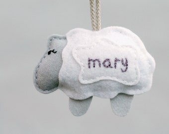 Little Lamb Ornament Baby's First Christmas Keepsake. Plush Sheep Ornament. Embroidered Felt Christmas Ornament with Name.