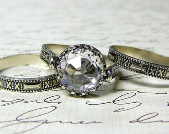 Sabine Trio Rings - Sterling silver Vintage Inspired rings with premium CZ Engagement Rings