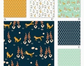Reserved for Brittany, Boy Woodland in Navy, Mint and Orange Organic Woodland Custom Crib Baby Bedding, Foxglove in Navy Collection