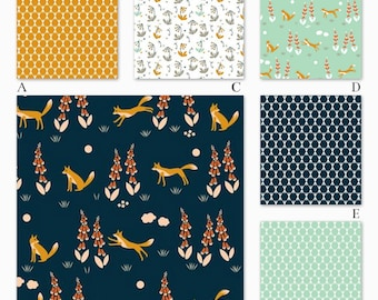 Boy Woodland in Navy, Mint and Orange Organic Woodland Custom Crib Baby Bedding, Foxglove in Navy Collection
