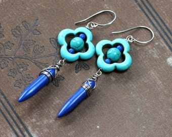 Magnesite Earrings Turquoise Blue Gemstone Clover Spike Wire Wrapped Earrings Sterling Silver Earrings