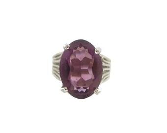 Vintage Amethyst Ring, Whiting Davis Designer, Large Oval Solitaire 1950s Vintage Jewelry, Designer Vintage Jewelry