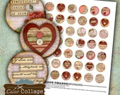 Art Heart Collage Sheet - Valentine Collage Sheets - Bottle Cap Images - 1 inch Circle Printable Images - Romantic Images - Love Craft Sheet
