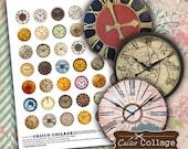 Digital Collage Sheet - Clock Faces - Pendant Images for Glass Dome Pendants, Bottle Cap, Bezel Settings, Cabochon, Decoupage Paper, Art