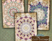 Mandala Printable Digital Collage Sheet 2.5x3.5 inch size Jewelry holders Gift Tags Greeting cards Scrapbooking Junk Journals CalicoCollage
