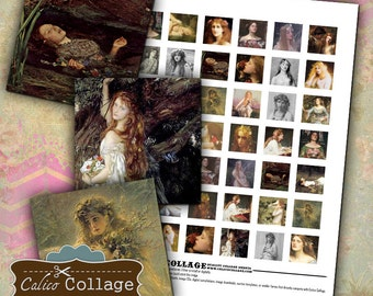 Ophelia - Digital Collage Sheet 1x1 Inch Inchies Oil Painting Printables Download for Bezel Pendants Calico Collage Graphics