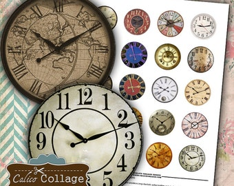 Clock Faces Digital Collage Sheet Clock Circle Images 1.5 Circle Images Printable Sheets Decoupage Paper Instant Download Calico Collage