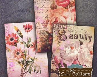 Pink Floral, Collage Sheet, Printable, Jewelry Card, Digital Tags, Junk Journal, Printable Images, Digital Download, Instant Download