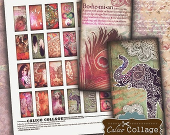 Boho Chic Digital Collage Sheet 1X2 Domino Images for Resin Pendants, Bezel Settings, Jewelry Supply, Decoupage Art, Mixed Media Art