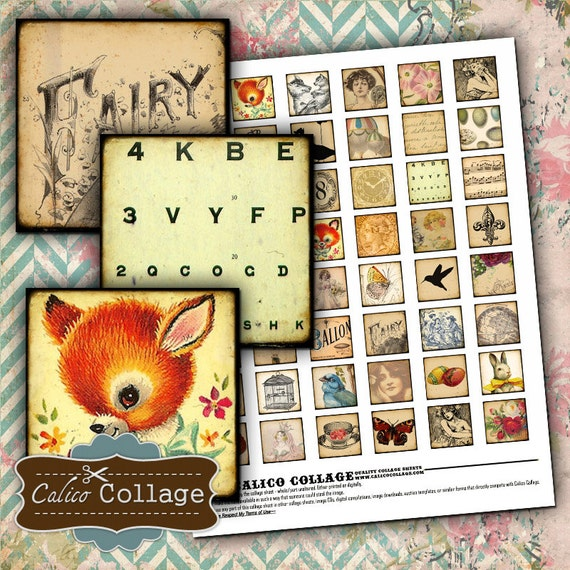 Eclectic Mix Digital Collage Sheet 1x1 Inch Pendant Images for Resin, Glass, Magnets, Calico Collage, Whimsy Images, Soldered Pendnats
