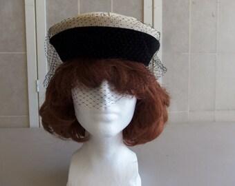 Vintage 1960's Black & Beige Church/Dress/Derby Pill Hat