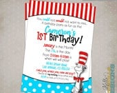 Cat in the Hat Birthday Party Invitation, Custom Dr. Seuss Party Invite - Personalized, Printable #B112
