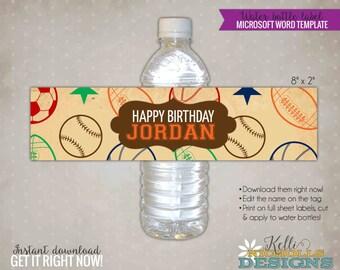Sports Ticket Water Bottle Label Template, Vintage Boy Sports Birthday Decoration, Instant Download #B108