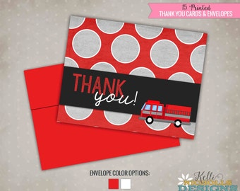 Boy's Birthday Fire Truck Thank You Cards, Fireman Birthday Thank You Notes
